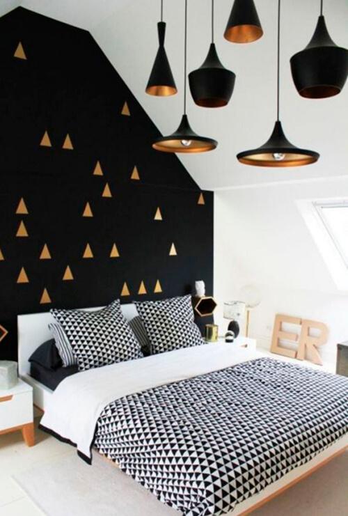 decorar um apartamento alugado - adesivo de parede triangulo