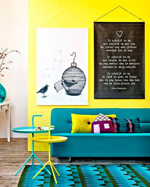 decorar um apartamento alugado - parede amarela