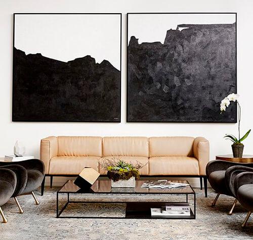 decorar um apartamento alugado - use quadros grandes