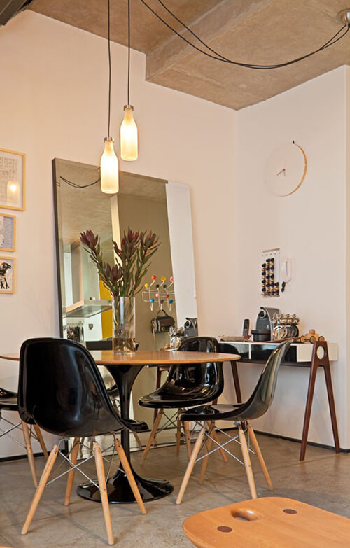 decorar uma apartamento alugado - espelho na sala de jantar