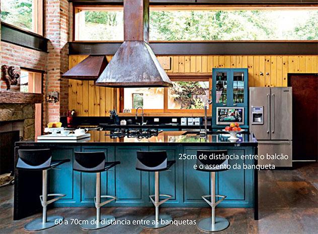Cozinha gourmet,e completamente integrada à sala. Ambiente com tijolos de demolição e grandes janelas de vidro. Armários e balcão em azul petróleo, com bancada de granito preto absoluto. Banquetas pretas com as distâncias adequadas entre elas e entre a bancada.