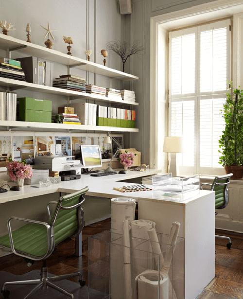 Decoração de escritório verde