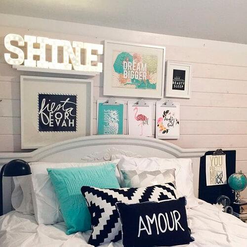 Decorar com amor - almofadas na cama