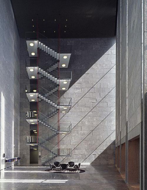 arne jacobsen national bank escadas
