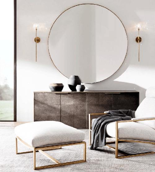 espelho redondo na sala de estar