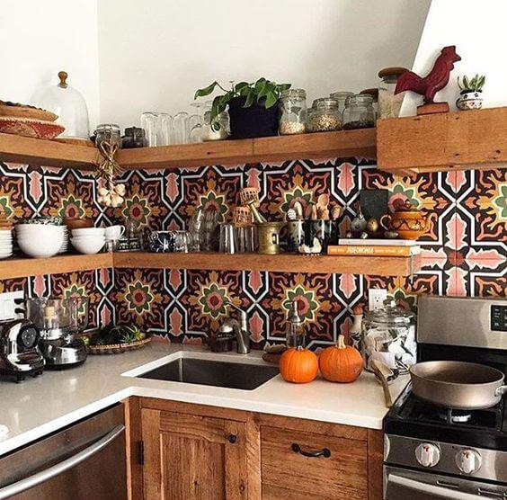 Novo boho chic - cozinha com ladrilhos vintage