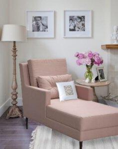 poltrona de leitura rosa longue chaise