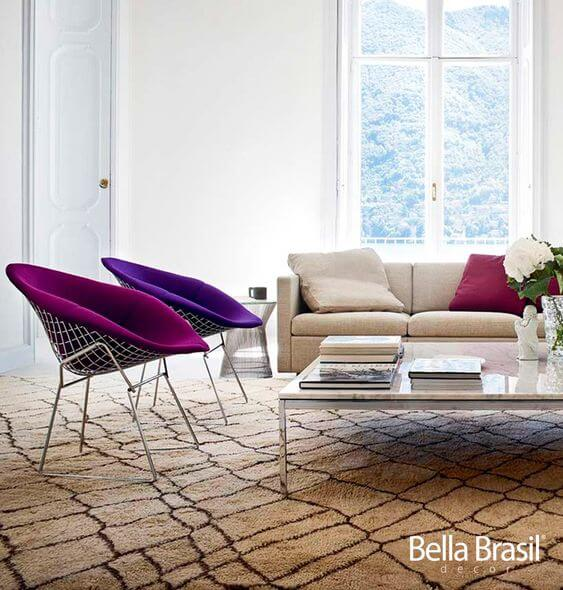 Cadeiras para sala - metal + veludo
