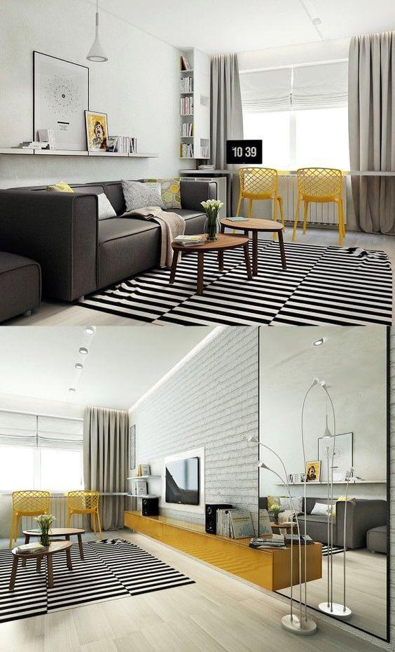 Cadeiras para sala - amarela e cinza
