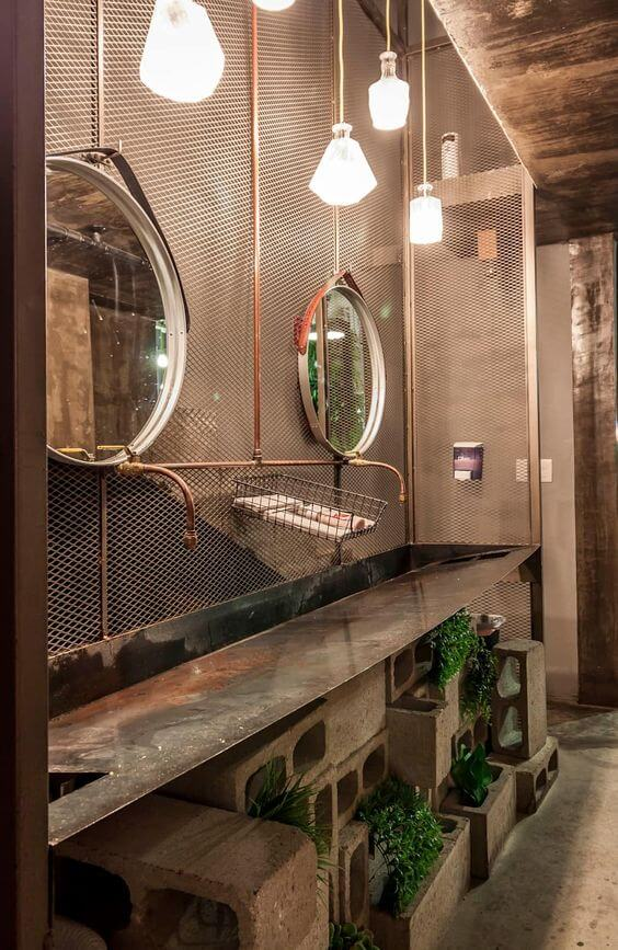 Decoração Industrial Espelho Redondo