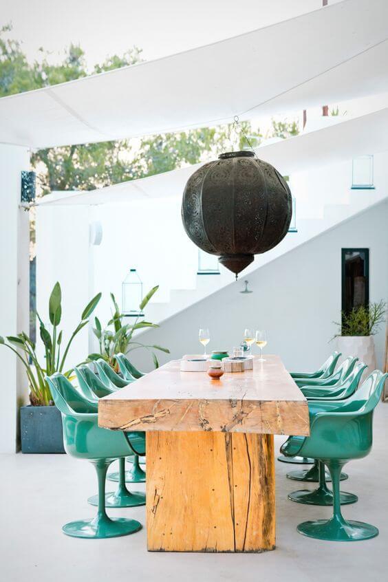 como decorar a área externa - cadeira saarinen