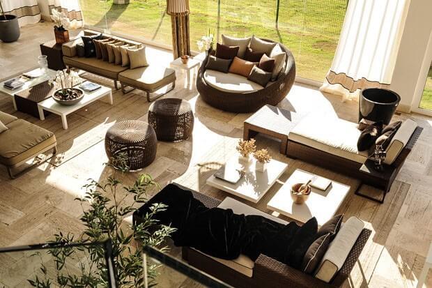 como decorar a área externa - puff seat garden viena