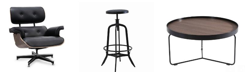 estilo de decoracao -Poltrona Charles Eames Couro Natural - Banqueta Industrial Steel - Mesa de Centro Space - LIV Decora