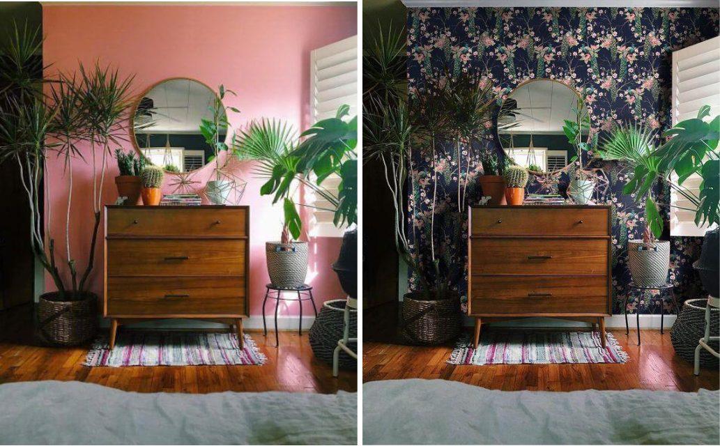Estilo de decoração tropical com Espelho Redondo Wood