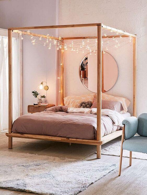 Quarto pequeno - Espelho Redondo Pink - LIV Decora   Almofada Nó - LIV Decora