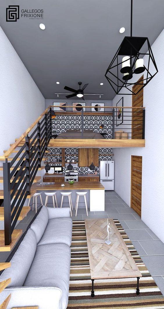 Decoração de loft pequeno com mezanino