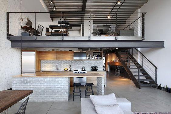 decoração loft com mezanino