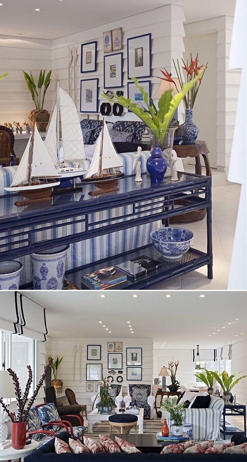 Azul e branco ao estilo de Hamptons no decor da casa na praia