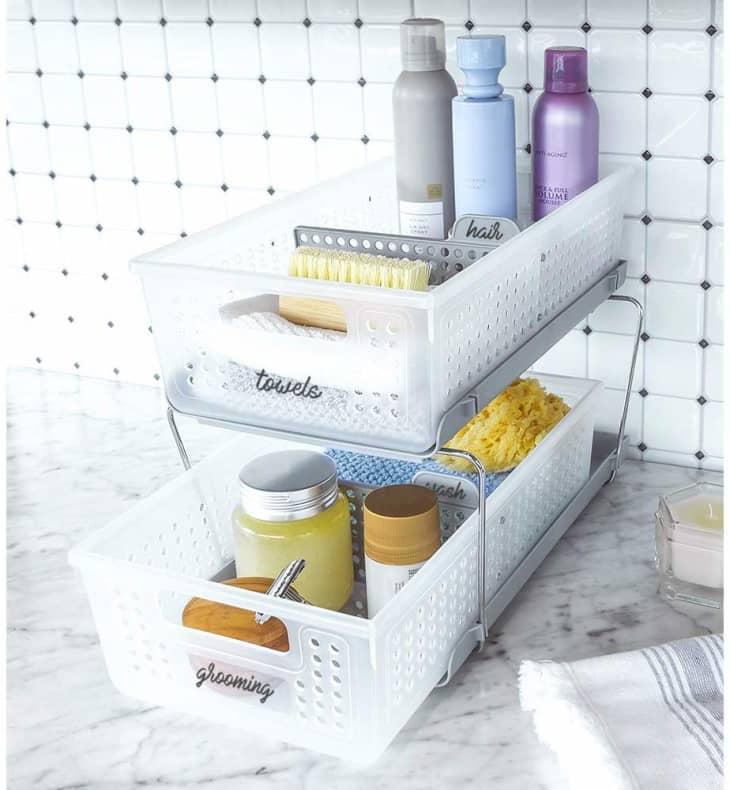 at organize clean bathroom counter organizer