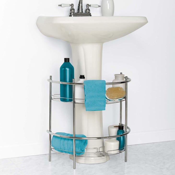 at organize clean pedestal sink storage