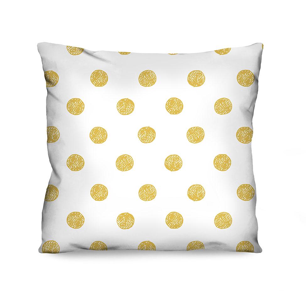 Almofada Estampada Polka Amarela