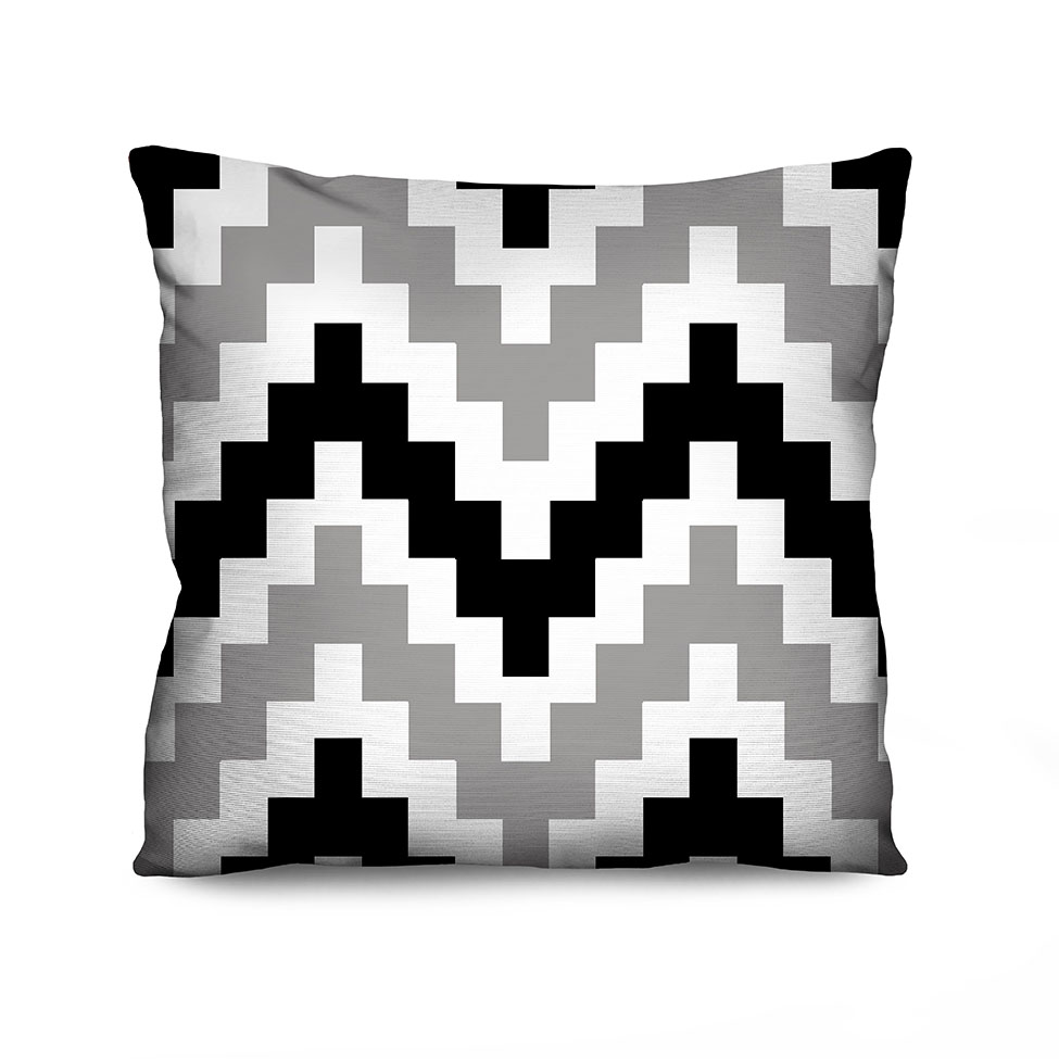 Almofada Estampada Wave Pixel Preta e Cinza
