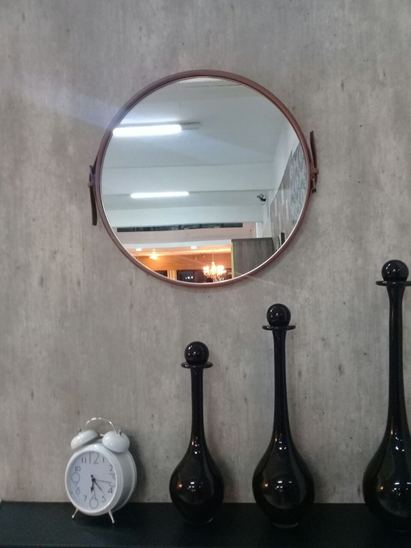 Espelho Redondo Fontenelle Couro Natural