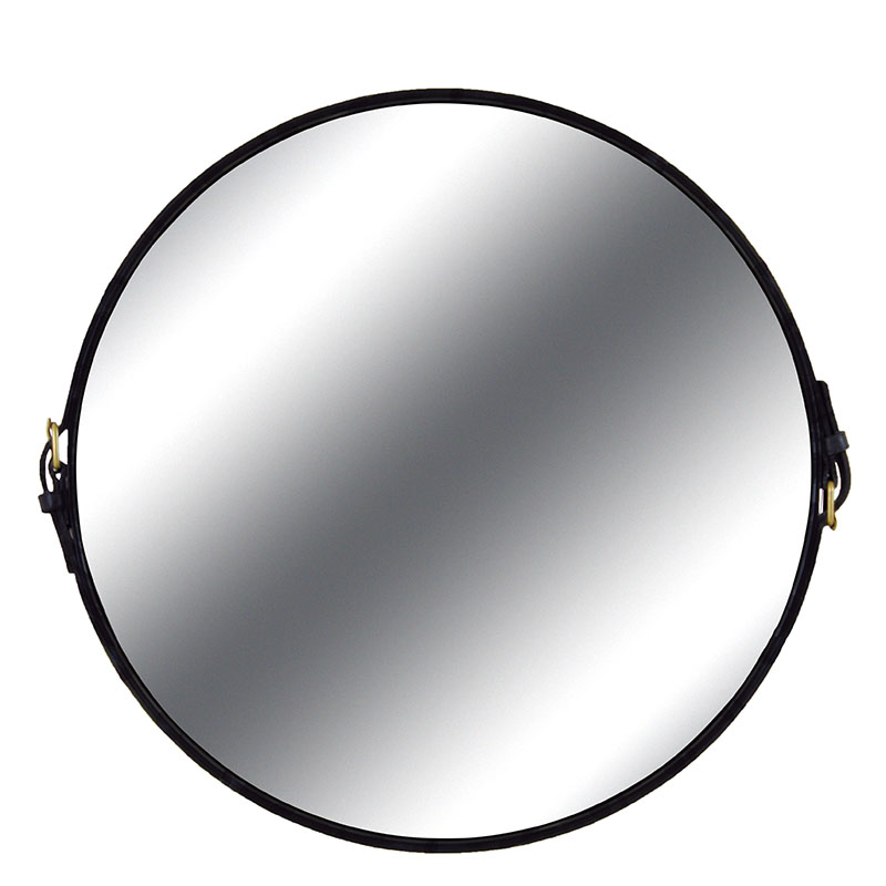 Espelho Redondo Fontenelle Couro Natural Preto