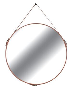 Espelho Redondo em Couro Caramelo Dallas
