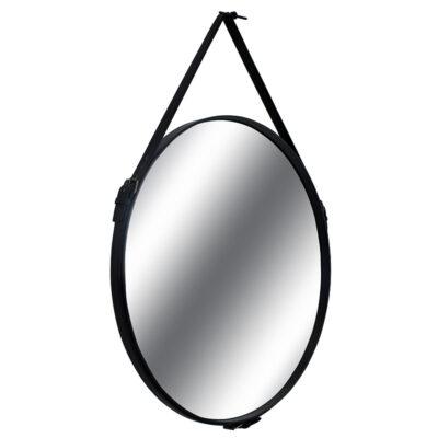 Espelho Redondo em Couro Preto Dallas