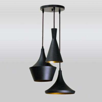 Luminária Pendente de Teto Triplo Preto