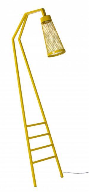 Luminária de Pìso em Ferro com Revisteiro Amarelo Narita