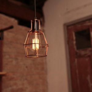 Luminária de Teto Pendente Aramado Cobre