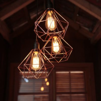 Luminária de Teto Pendente Triplo Aramado Diamante