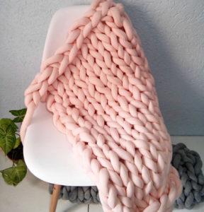 Manta Peseira Tricot em Cotton Rosa