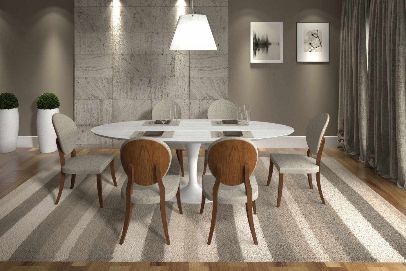 Mesa de Jantar Saarinen Oval Branca