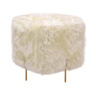 Puff Golden Quadrado Pele Sintética Branca e Base Dourada