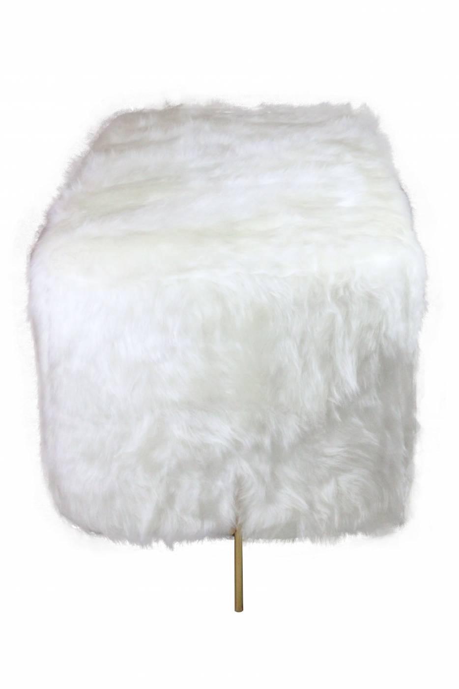 Puff Golden Retangular Pele Sintética Branco