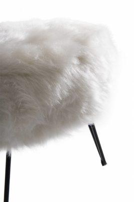 Puff Redondo Gali Pele Sintética Branco e Base Preta