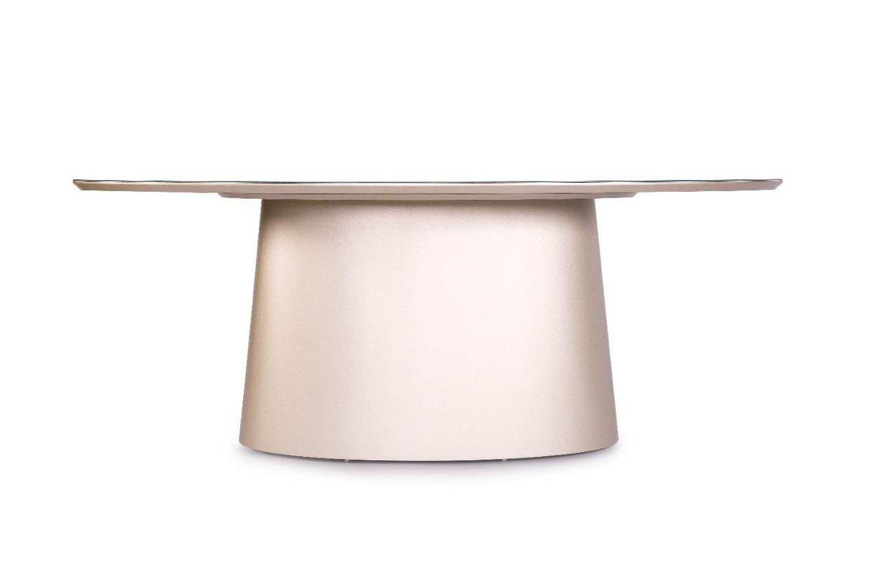 Mesa de Jantar Oval Metalizada Over