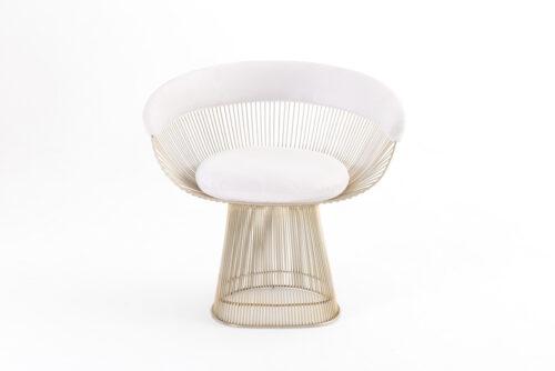 Cadeira Platner Branca e Dourada